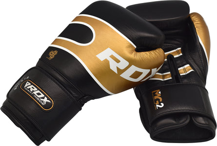 RDX S7 BAZOOKA LEATHER BOXING SPARRING GLOVES - BLACK PAIR