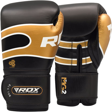 Image of RDX S7 BAZOOKA LEATHER BOXING SPARRING GLOVES - BLACK
