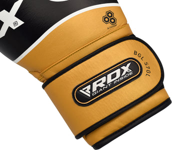 RDX S7 BAZOOKA LEATHER BOXING SPARRING GLOVES - GOLD VELCRO STRAP