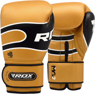 RDX S7 BAZOOKA LEATHER BOXING SPARRING GLOVES - GOLD