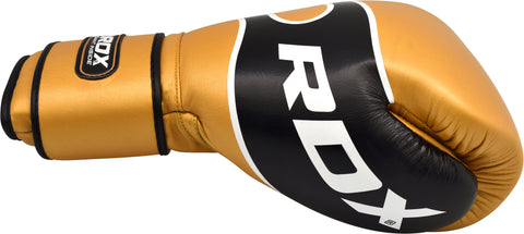 RDX S7 BAZOOKA LEATHER BOXING SPARRING GLOVES - GOLD THUMB