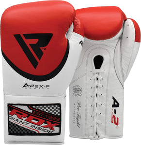 RDX A2 BBBOFC APPROVED PRO FIGHT BOXING GLOVES - RED