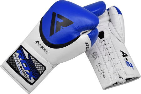 RDX A2 BBBOFC APPROVED PRO FIGHT BOXING GLOVES - BLUE PAIR