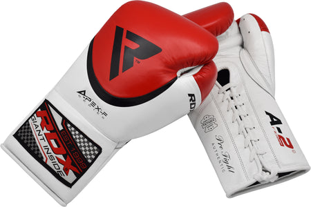 RDX A2 BBBOFC APPROVED PRO FIGHT BOXING GLOVES - RED PALM DETAIL