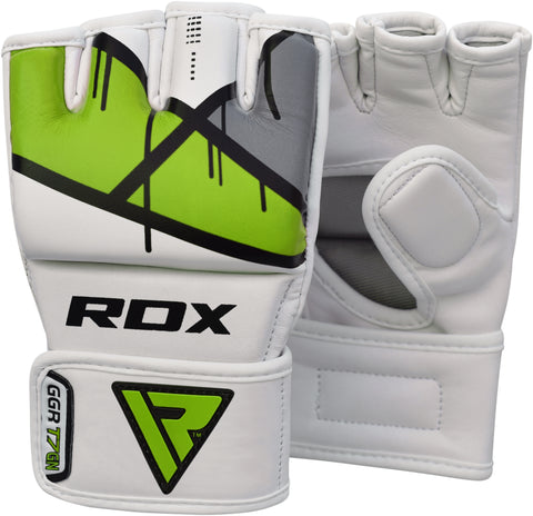 Image of RDX T7 EGO MMA GRAPPLING GLOVES - GREEN PAIR DETAIL