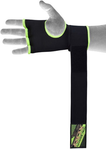 Image of RDX BLACK AND GREEN INNER GLOVE HYP-ISGN VELCRO STRAP