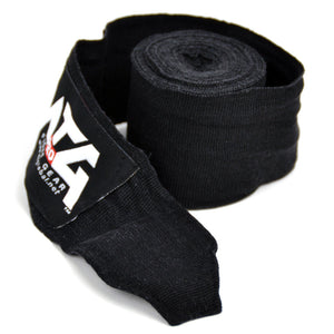 MTG Pro 5m Black Elasticated Hand Wraps Close Up