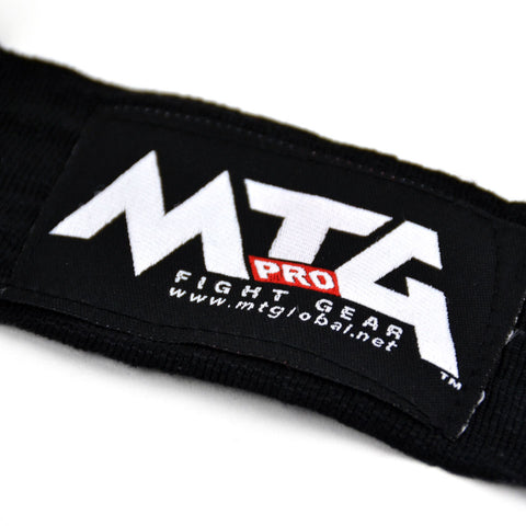 Image of MTG Pro 5m Black Elasticated Hand Wraps Logo