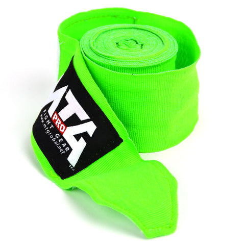 MTG Pro 5m Lime Green Elasticated Hand Wraps Close Up