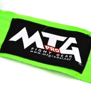 MTG Pro 5m Lime Green Elasticated Hand Wraps Logo