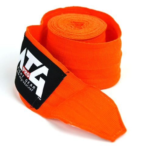 Image of MTG Pro 5m Orange Elasticated Hand Wraps Close Up