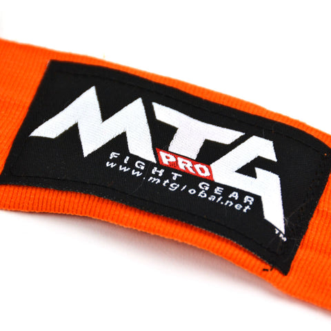 MTG Pro 5m Orange Elasticated Hand Wraps Logo