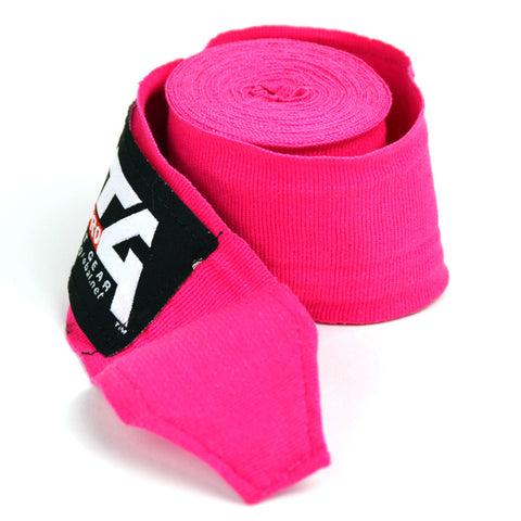 Image of MTG Pro 5m Pink Elasticated Hand Wraps Close Up