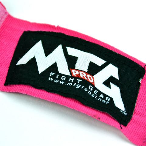Image of MTG Pro 5m Pink Elasticated Hand Wraps Logo