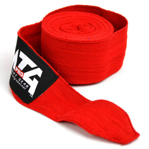 MTG Pro 5m Red Elasticated Hand Wraps Close Up