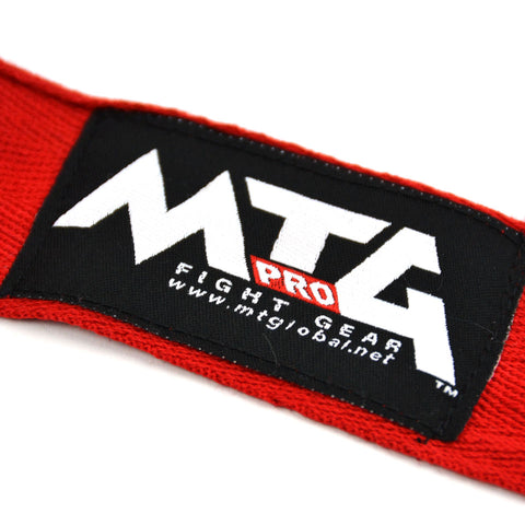 MTG Pro 5m Red Elasticated Hand Wraps Logo