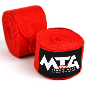 MTG Pro 5m Red Elasticated Hand Wraps