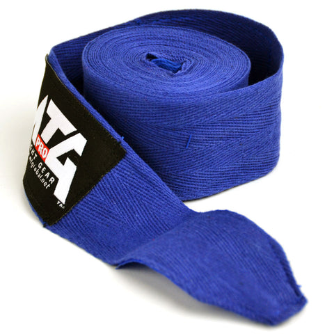 Image of MTG Pro 5m Blue Elasticated Hand Wraps Close Up