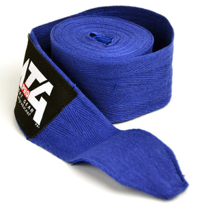 MTG Pro 5m Blue Elasticated Hand Wraps Close Up