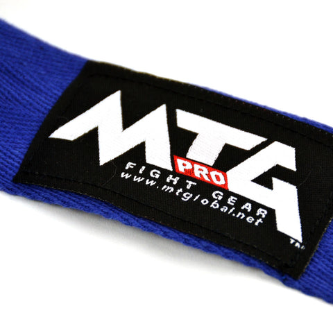 Image of MTG Pro 5m Blue Elasticated Hand Wraps Logo