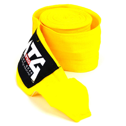 MTG Pro 5M Yellow Elasticated Hand Wraps Close Up