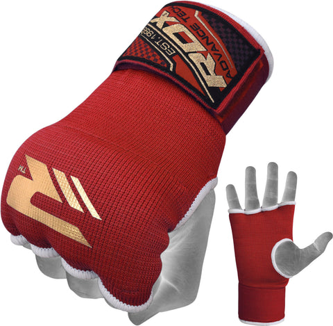 Image of RDX HYP-ISR INNER GLOVE RED STRAP FIST AND PALM DETAIL