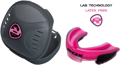 Image of RDX MOUTHGUARD 3T GSX-G1P PINK FRONT AND CASe
