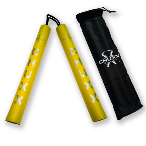 Image of CHUXX Martial Arts Yellow Premium Rope Practice Nunchaku with Case