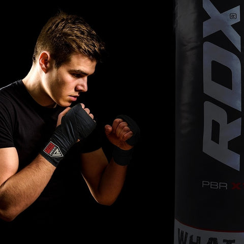 Image of RDX Elasticated Hand Wraps 4.5m Black Heavy bag