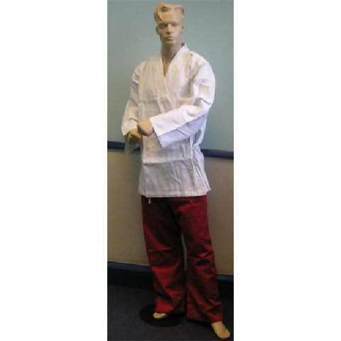 Karate Uniform: White Jacket / Red Trousers