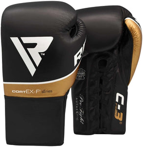 RDX C3 BBBOFC APPROVED PRO FIGHT BOXING GLOVES LACEUP - BLACK