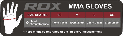 RDX T1 LEATHER MMA GLOVES - BLACK SIZE CHART