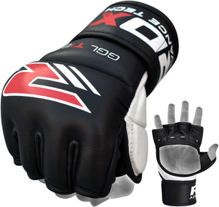 RDX T1 LEATHER MMA GLOVES - BLACK