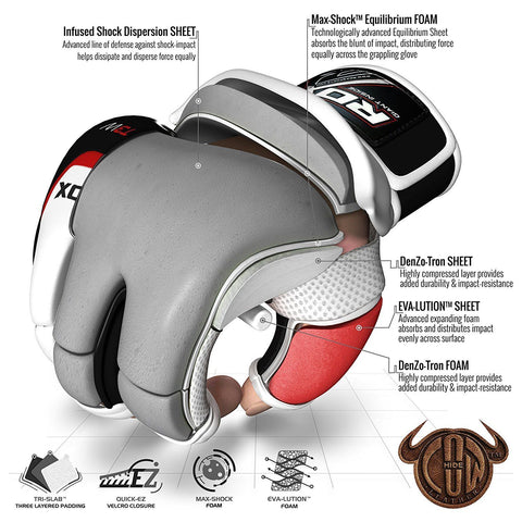 RDX T3 LEATHER MMA GLOVES - WHITE/BLACK/RED