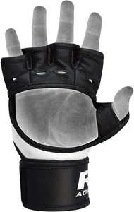 RDX T1 LEATHER MMA GLOVES - BLACK PALM DETAIL