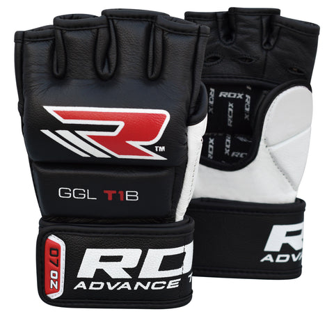 RDX T1 LEATHER MMA GLOVES - BLACK PAIR