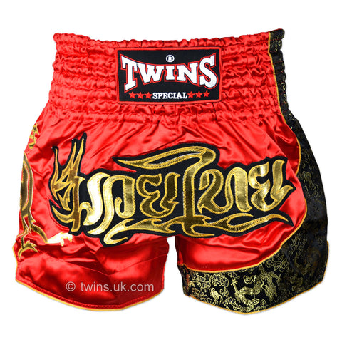 Twins TWS-151 Muay Thai Shorts - Red/Gold