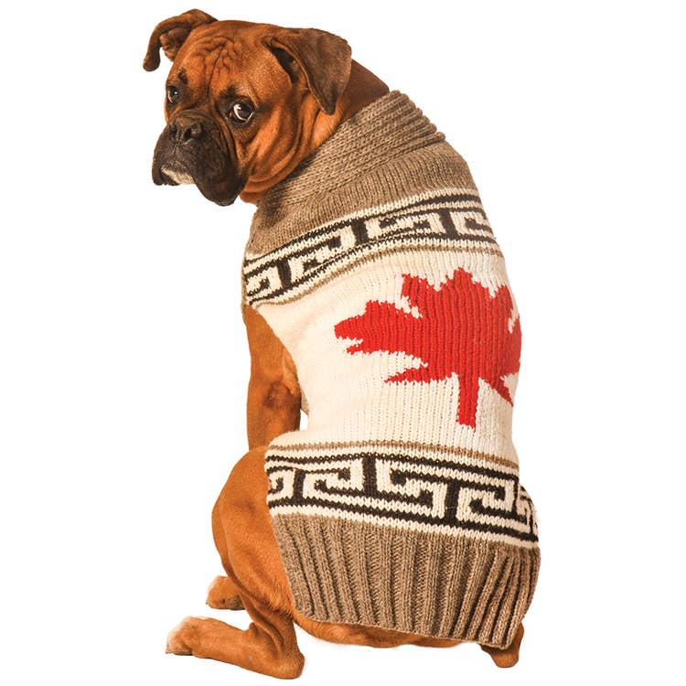 Chilly Dog Grey Maple Leaf Dog Sweater