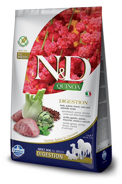Farmina N&D Digestion Quinoa, Lamb, Fennel, Mint and Artichoke Adult Dog Food