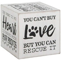 Heartfelt Wooden Decorative Cube