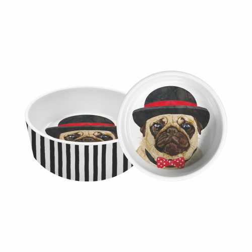 Hudson the Pug Small Pet Dish for Dog or Cat