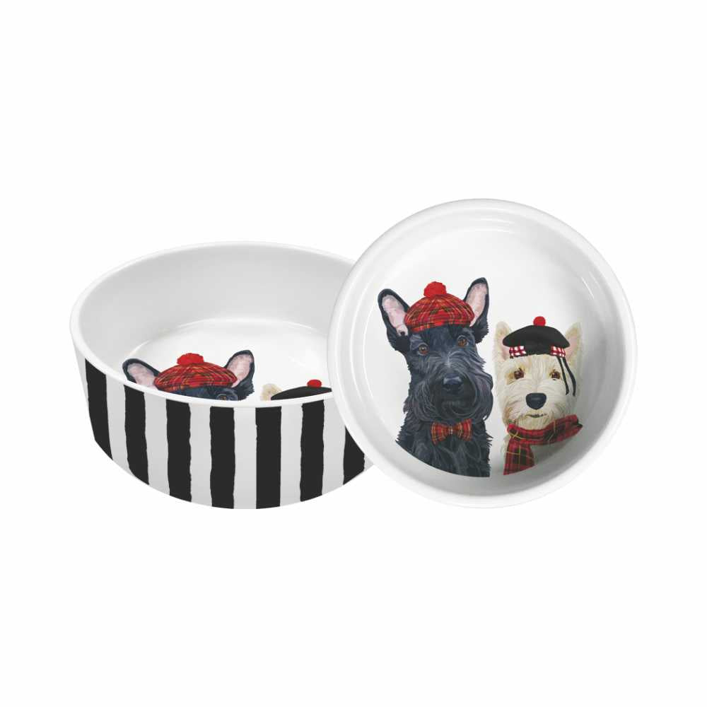 "Angus & Fiona Dogs by Two Can Art - 5.5"" Pet Food or Water Dish"