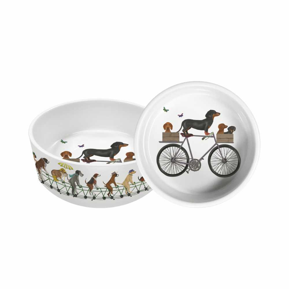 "Pedalling Pups by Fab Funky - 5.5"" Pet Dish"