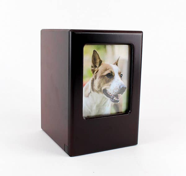 Picture Frame Memory Pet Urn in Black Cherry