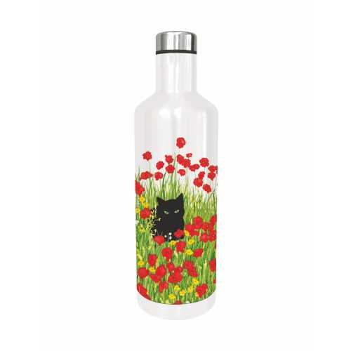 Black Cat in Poppies Metal Water Bottle by Sue Boettcher