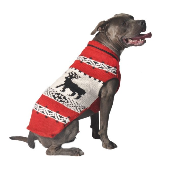 Chilly Dog Wool Red Reindeer Shawl Dog Sweater