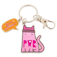 "Kitty Cat ""Girl Power"" Enamel Key Chain"
