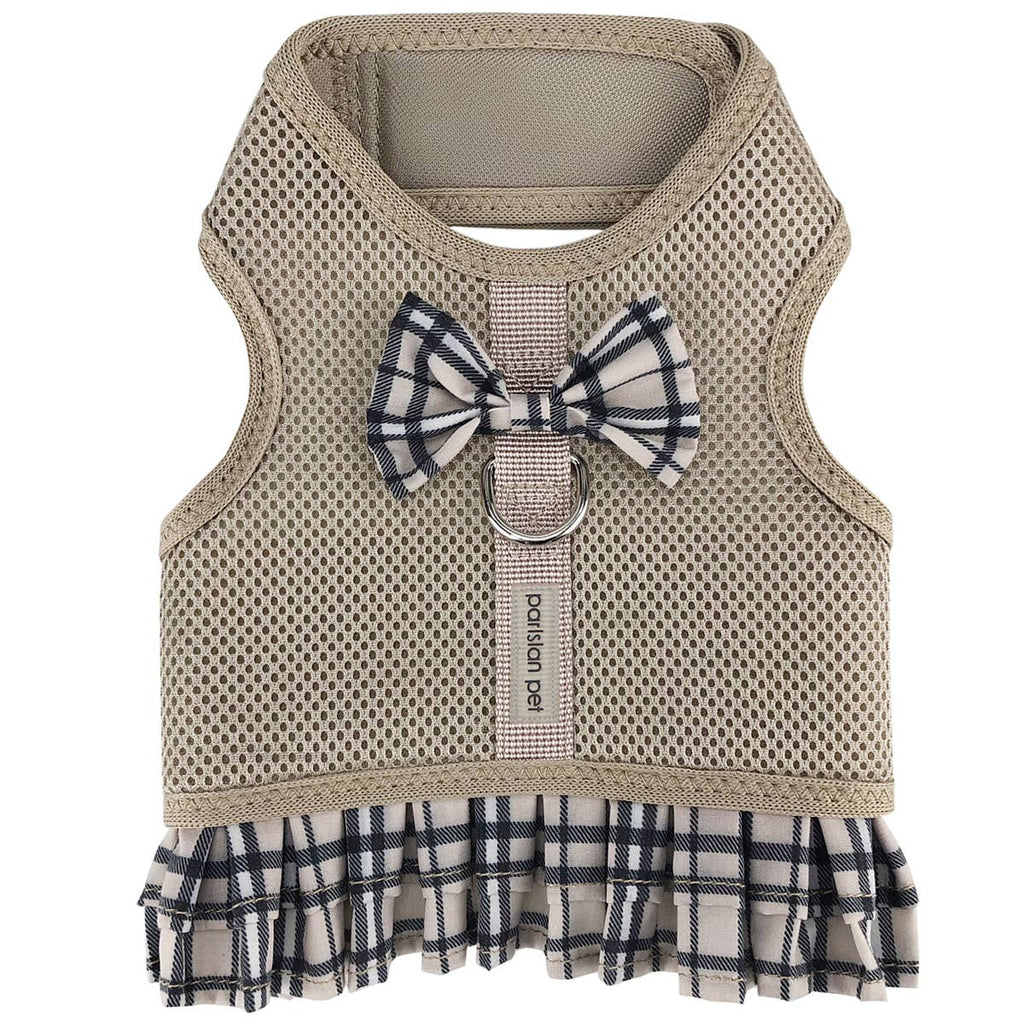 Parisian Pet Khaki Plaid Harness Dress