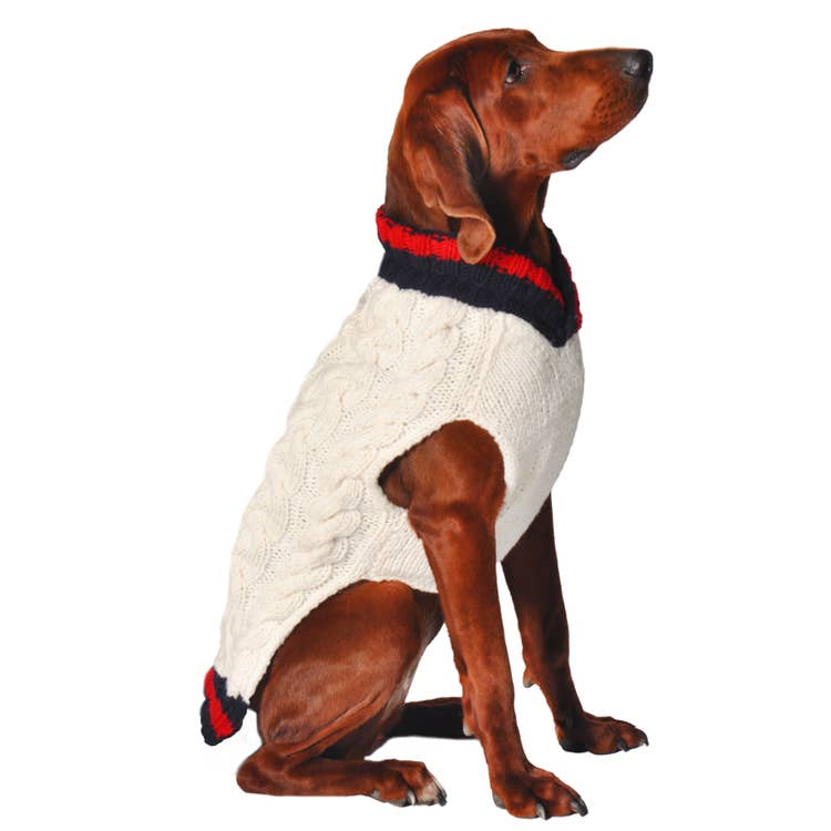 Chilly Dog Hand Knit Wool Varsity Dog Sweater - XXL