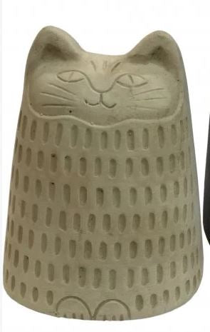 Cement Cat Statue Black & Tan